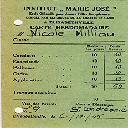 Carte de notes hebdomadaire de l'I.M.J. de Elisabethville du 6.10.1945